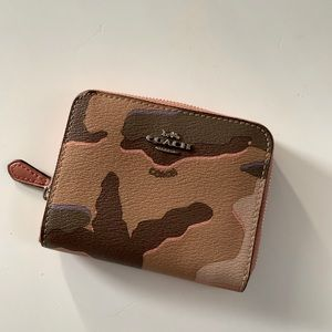 Coach Small Zip Around Wallet With Wild Camo Print